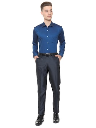 blue cotton formal shirt - 15608660 - Standard Image - 3