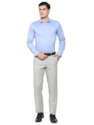 blue cotton blend formal shirt - 15608688 - Standard Image - 3