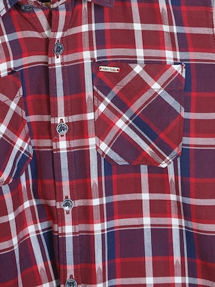 red cotton blend shirt - 15608975 - Standard Image - 3