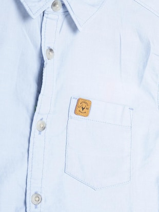 blue cotton blend shirt - 15609007 - Standard Image - 3
