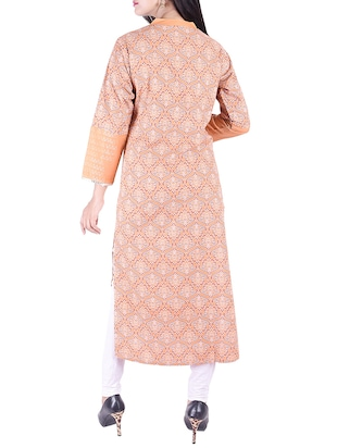 Printed straight kurta with tassels - 15609234 - Standard Image - 3