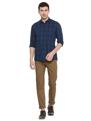 blue cotton casual shirt - 15609269 - Standard Image - 3