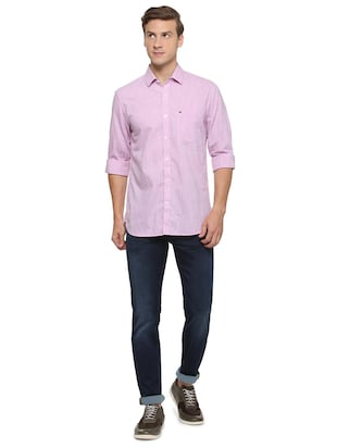 purple cotton casual shirt - 15609280 - Standard Image - 3