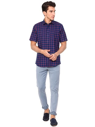 blue polyester blend casual shirt - 15609282 - Standard Image - 3