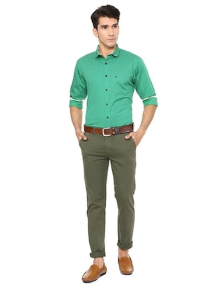 green cotton casual shirt - 15609302 - Standard Image - 3
