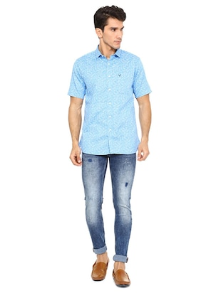 blue cotton casual shirt - 15609331 - Standard Image - 3
