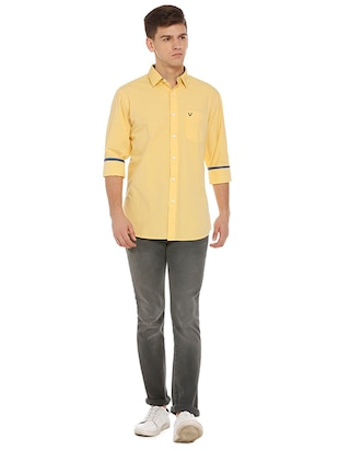 yellow cotton casual shirt - 15609334 - Standard Image - 3