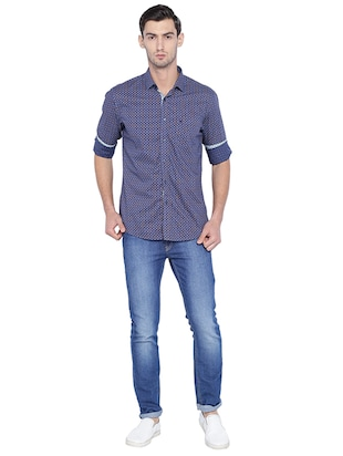 blue cotton casual shirt - 15609381 - Standard Image - 3