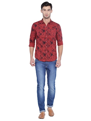 red cotton casual shirt - 15609384 - Standard Image - 3