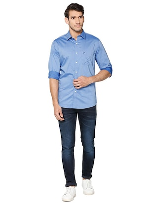 blue cotton casual shirt - 15609396 - Standard Image - 3