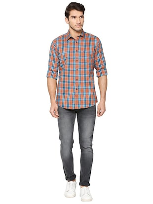 brown cotton blend casual shirt - 15609411 - Standard Image - 3