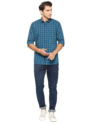 blue cotton casual shirt - 15609446 - Standard Image - 3