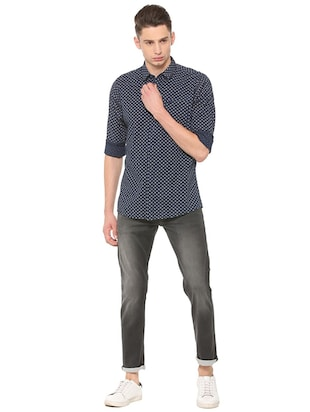 navy blue cotton casual shirt - 15609451 - Standard Image - 3