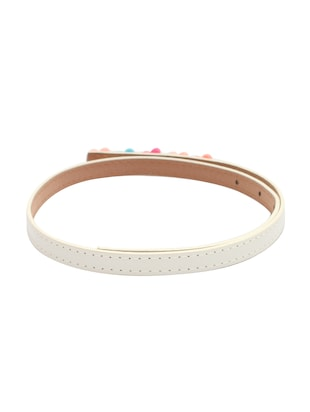 white leatherette belt - 15610525 - Standard Image - 3
