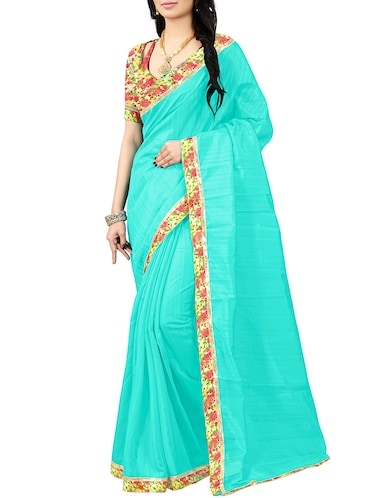 floral lace border saree with blouse - 15610786 - Standard Image - 1