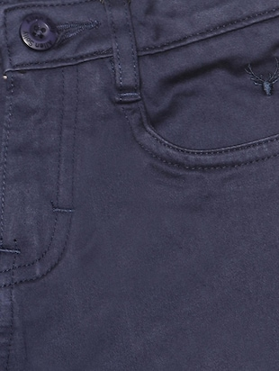 blue cotton blend chinos - 15611879 - Standard Image - 3