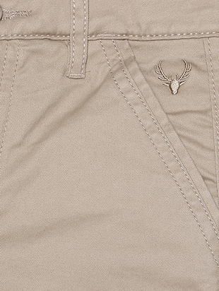 beige cotton blend chinos - 15611885 - Standard Image - 3