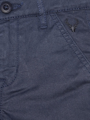 blue cotton blend chinos - 15611887 - Standard Image - 3