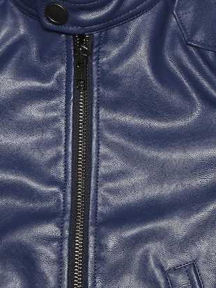 navy blue leather jacket - 15611931 - Standard Image - 3