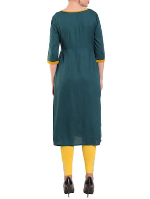 Teal embroidered straight kurta - 15612051 - Standard Image - 3