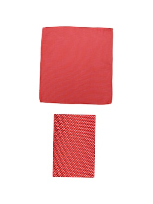 red microfiber tie with pocketsquare - 15612092 - Standard Image - 3
