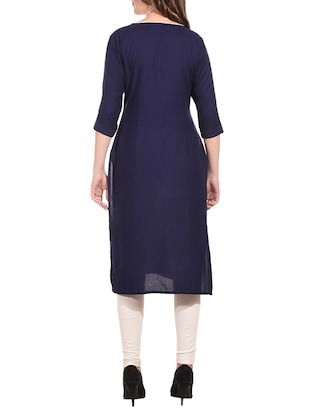 Embroidered straight kurta with tassels - 15612127 - Standard Image - 3