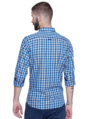 blue cotton casual shirt - 15612309 - Standard Image - 3