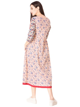 Flared printed slit sleeves dress - 15612651 - Standard Image - 3