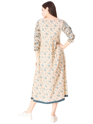 Flared printed slit sleeves dress - 15612652 - Standard Image - 3