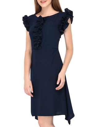 navy blue frill detail asymmetric dress - 15612875 - Standard Image - 3