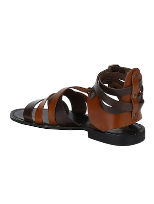 brown Leather back strap sandals - 15613039 - Standard Image - 3