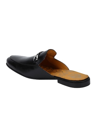 black Leather slip on mules - 15613207 - Standard Image - 3