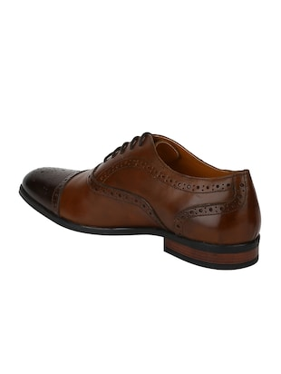 tan Leather lace-up oxfords - 15613374 - Standard Image - 3