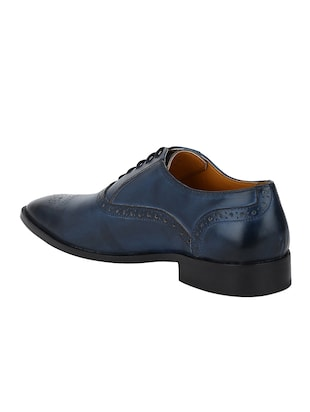 navy Leather lace-up oxfords - 15613379 - Standard Image - 3