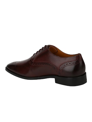 brown Leather lace-up oxfords - 15613380 - Standard Image - 3