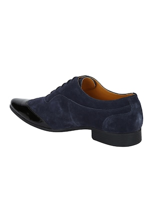 navy Suede lace-up brouges - 15613387 - Standard Image - 3