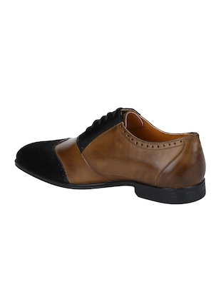 tan Leather lace-up brouges - 15613394 - Standard Image - 3