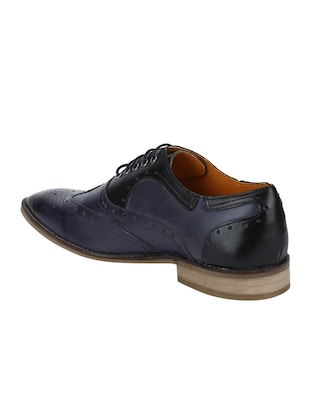 navy Leather lace-up brouges - 15613398 - Standard Image - 3