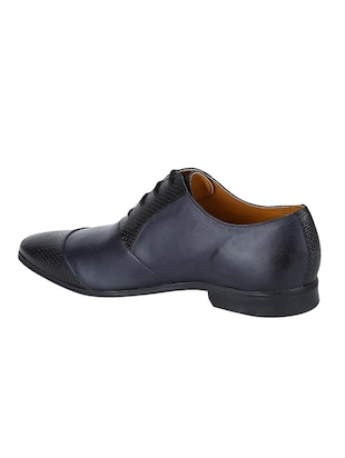 navy Leather lace-up oxfords - 15613410 - Standard Image - 3