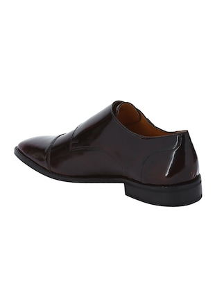 brown Patent Leather slip on monk straps - 15613433 - Standard Image - 3