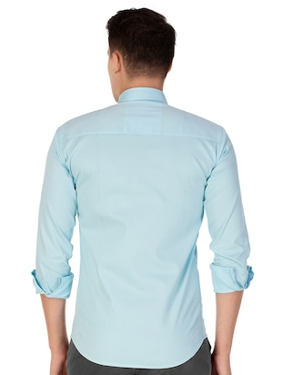 blue cotton casual shirt - 15613437 - Standard Image - 3