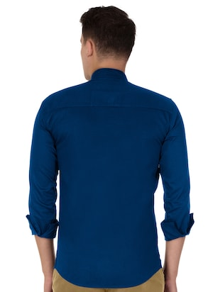 blue cotton casual shirt - 15613444 - Standard Image - 3