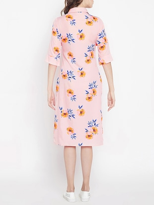 frill detail floral shirt dress - 15613533 - Standard Image - 3