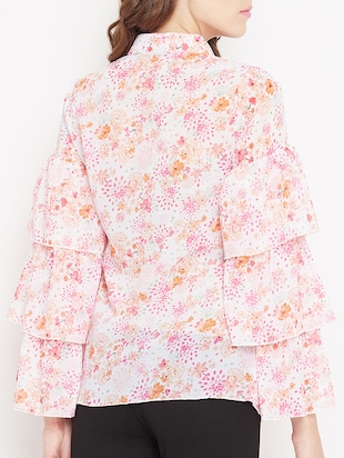 button up ditsy floral layered top - 15613548 - Standard Image - 3