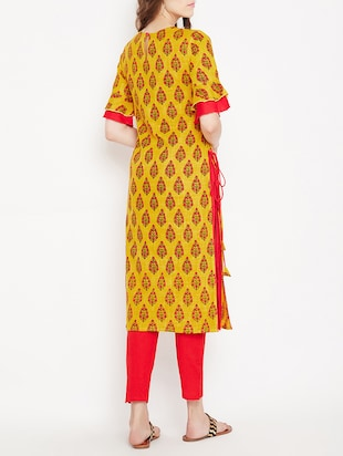 Straight printed kurta with tassels - 15613595 - Standard Image - 3