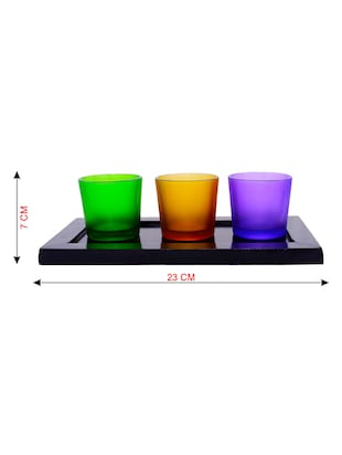 Hand Crafted Glass Votives with wooden Tray - 15614335 - Standard Image - 3