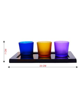 Hand Crafted Glass Votives with wooden Tray - 15614337 - Standard Image - 3