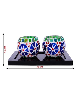 Hand Crafted Glass Votives with wooden Tray - 15614345 - Standard Image - 3