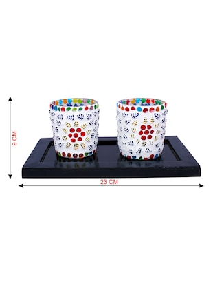 Hand Crafted Glass Votives with wooden Tray - 15614357 - Standard Image - 3