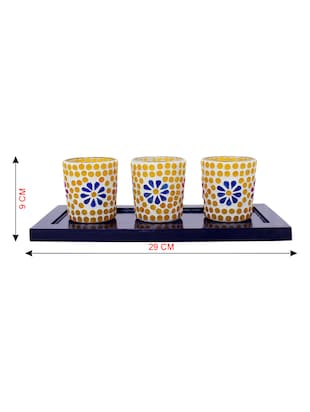 Hand Crafted Glass Votives with wooden Tray - 15614374 - Standard Image - 3